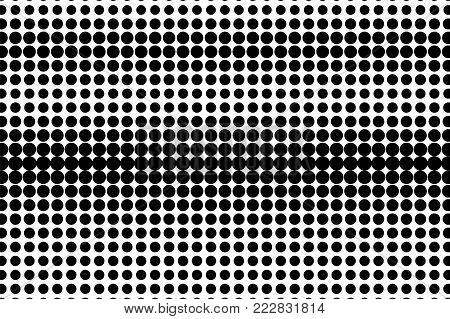 Black white rough dotted gradient. Half tone vector background. Horizontal dotted halftone. Abstract monochrome texture. Black ink dot on transparent backdrop. Pop art dotwork. Retro design