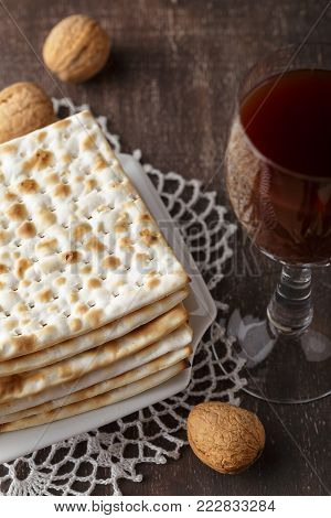 Jewish Matzah Bread With Wine For Passover Holiday