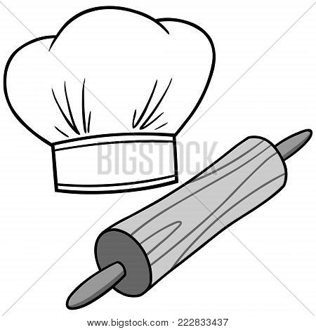 Chef Hat and Rolling Pin Illustration - A vector cartoon illustration of a Chef Hat and Rolling Pin.
