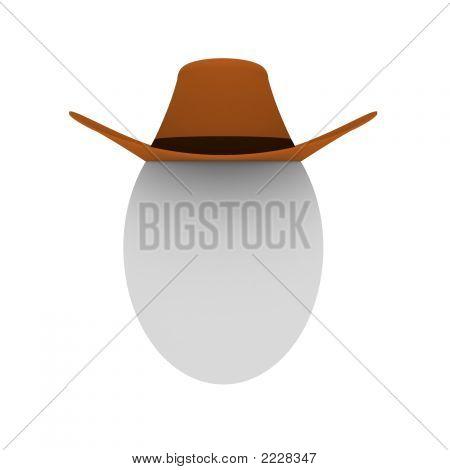 3D Render Of The Egg In Cowboy Hat
