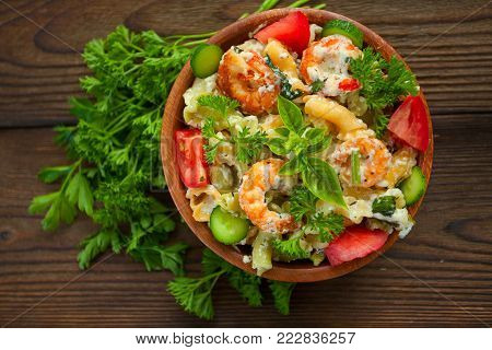 Delicious Gigli T With Shrimps And Basil On  Plate