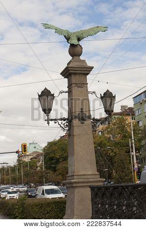SOFIA, BULGARIA - OCTOBER 09, 2017 Earl bridge built in 1891 year
