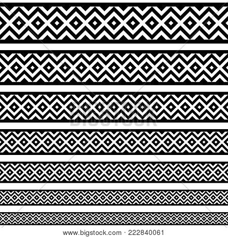 Border decoration elements patterns in black and white colors. Geometrical ethnic border in different sizes set collections. Vector illustrations. Can use as tattoos, frames, patterns, dividers