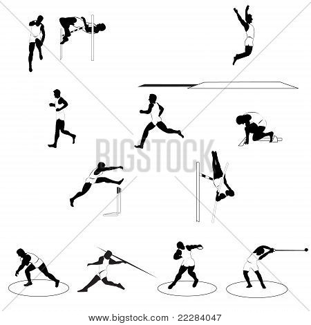Set of 12 athletic silhouettes all track and field disciplines isolated on white poster