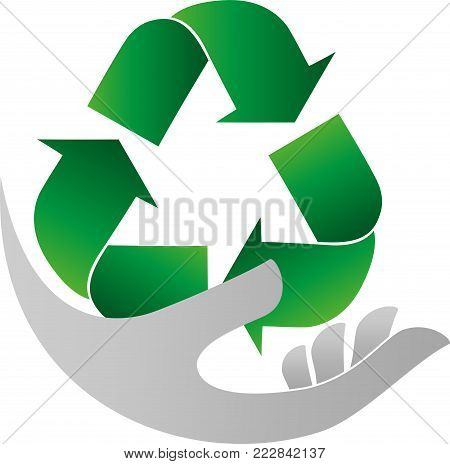 Recycle arrows, recycle sign and hand, recycle logo