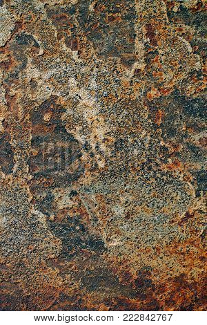 Texture Of Rusty Iron, Cracked Paint On An Old Metallic Surface, Sheet Of Rusty Metal With Cracked A