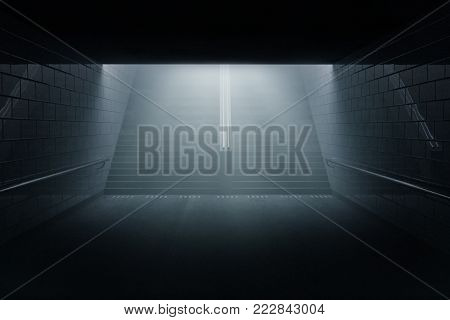 3d rendering of darken underpass with staircase at night in the fog