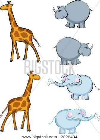 Elephant, Rhino, Giraffe Cartoon (Vector)