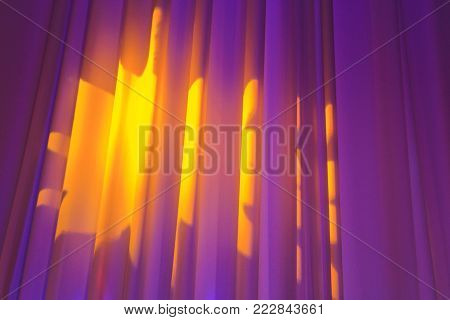 warm light on the folds of the curtains, backgrounds and lighting