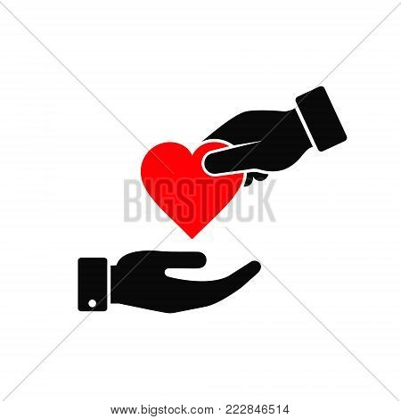 Hand gives heart icon in flat style. Giving love concept, donate concept, health symbol.