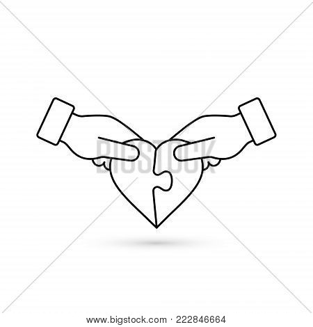 Man and woman handing joining puzzle pieces of heart line icon. Vector love illustration. Donation or autism concept.