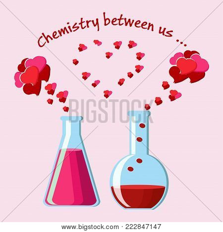 Valentine's Day greeting card with two chemical flasks with love potions and evaporating hearts, and text Chemistry between us. Chemistry of love concept. Cartoon vector illustration over pink.