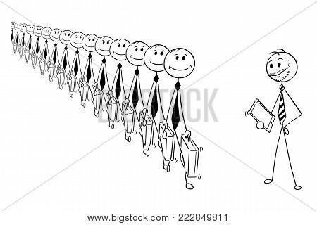 Cartoon stick man drawing conceptual illustration of crowd of identical businessmen or clerks clones produced in mass, and modern creative businessman. Business concept of individuality.