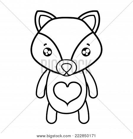 line tender fox cute wild animal vector illustration