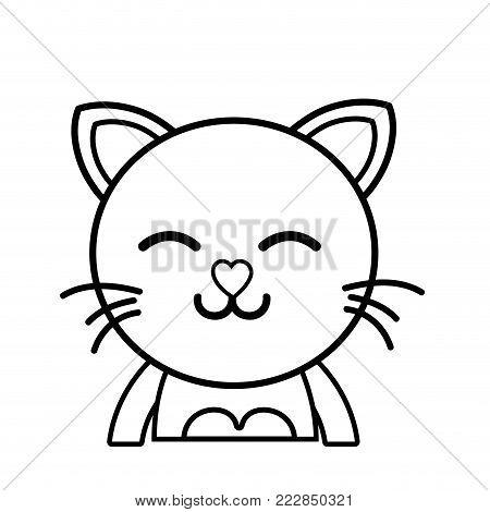 line sleeping cat adorable feline animal vector illustration poster