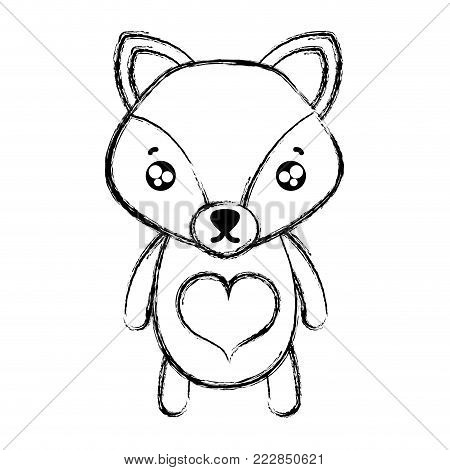 figure tender fox cute wild animal vector illustration