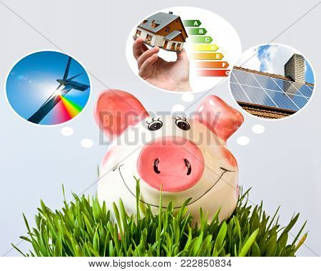 czech economy and finance - piggy bank and - piggy bank dreams about low green house household expenses, alternative sources of energy