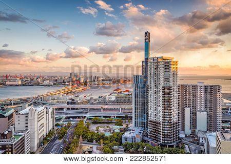 Kobe, Japan cityscape view towards Port Island.