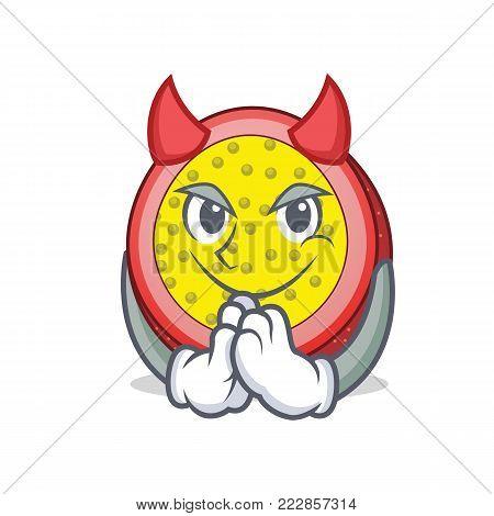 Devil passion fruit mascot cartoon vector illustration