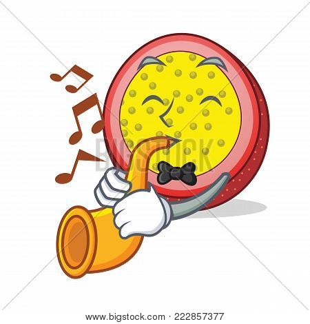 With trumpet passion fruit mascot cartoon vector illustration