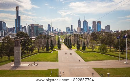 MELBOURNE, AUSTRALIA - OCTOBER 10 2015: Melbourne skyline view from above of the Shrine of remembrance an iconic war memorial museum in Melbourne.