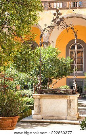 NAPLES - ITALY - On 10/16/  The cloister of San Gregorio Armeno, Naples