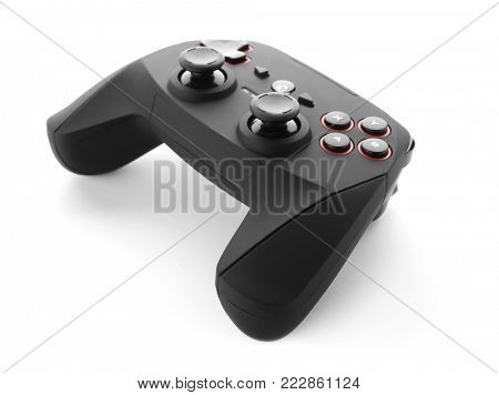 Video game controller on white background