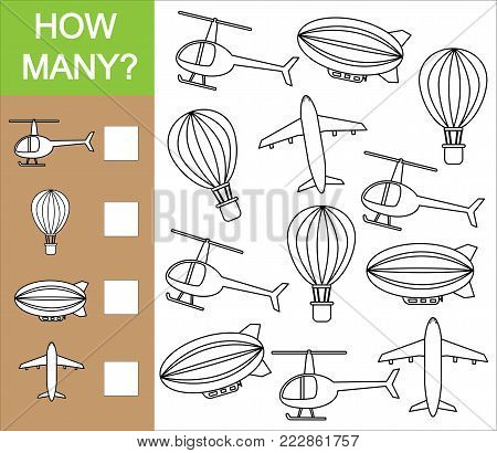 Count how many object of air transport. Counting educational game for children. Paint air transport.