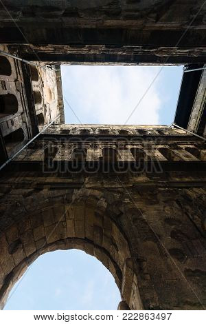 travel to Germany - bottom view of ancient roman city gate Porta  (Black Gate) in Trier town