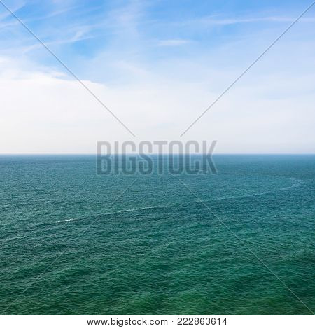 travel to France - view of English channel from Cap Gris-Nez in Cote d'Opale district in Pas-de-Calais region of France in summer day