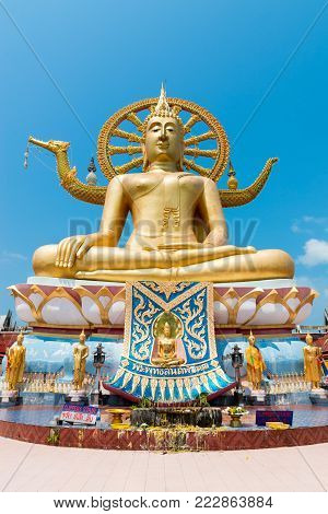 SAMUI, THAILAND - 04 MAR 2013: Big Buddha statue in Wat Phra Yai Ko Fan on Samui island