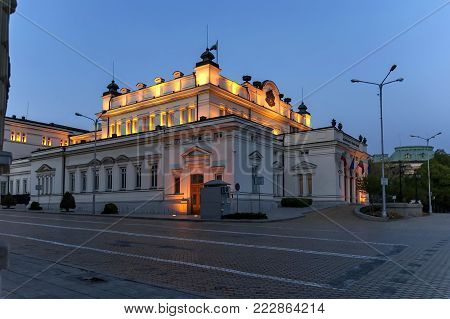 Sofia, Bulgaria - May 01, 2012: Square National Assembly with building for official use only of Bulgarian Parliament   beauty illuminated in the night, Sofia, Bulgaria. Visit in place.