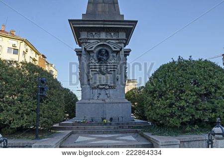 Sofia, Bulgaria - November 11, 2017: Monument to Bulgarian national hero Vasil Levski in city of Sofia, Bulgaria, Europe. Visit in place.
