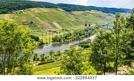travel to Germany - above view of valley of Mosel river in Cochem - Zell region on Moselle wine route in sunny summer day