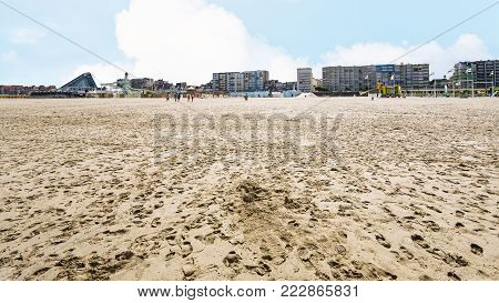 travel to France - view of sand beach of Le Touquet with apartments (Le Touquet-Paris-Plage) on coast of English Channel