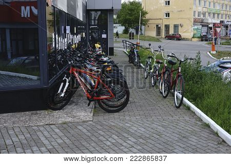 Russia - Solikamsk July 10, 2017: with objects station group  bicycles docks stations