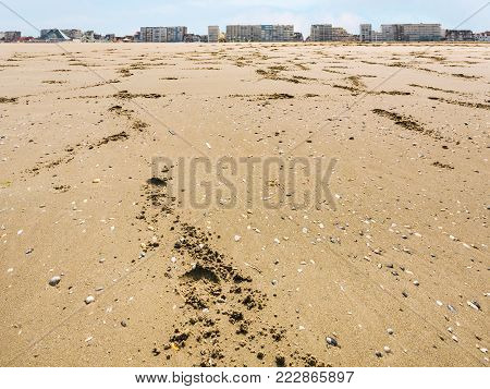 travel to France - sand beach of Le Touquet with apartment houses (Le Touquet-Paris-Plage) on coast of English Channel