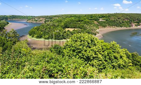 travel to France - above view of Trieux river valley near Ploezal commune in Cotes-d'Armor department of Brittany in sunny summer day
