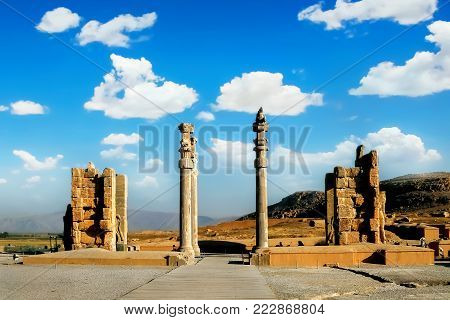 Persepolis is the capital of the ancient Achaemenid kingdom. Ancient columns. Sight of Iran. Ancient Persia.