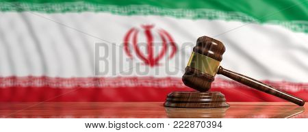 Death Penalty In Iran. Judge Gavel On Iran Flag Background. 3D Illustration
