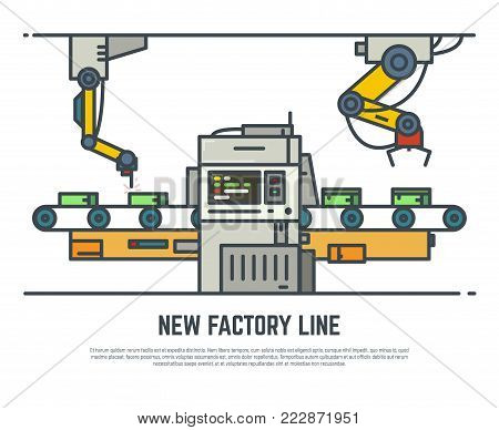 Factory line conveyor vector line illustration. Production assembly belt. Factory industry process.