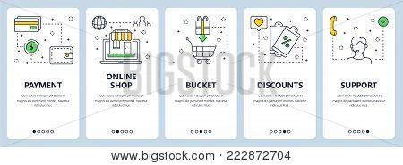 Vector set of vertical banners with Payment, Online shop, Bucket, Discounts, Support concept website templates. Modern thin line flat style design elements for web, print.
