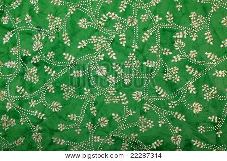 greeb handmade art paper with silver floral print
