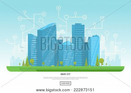 Smart city vector illustration. Small building, big skyscrapers and large smart city tall skyscrapers on background. Urban street with park and trees near cityscape. Metropolis background.