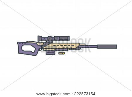 Sniper rifle vector line illustration. Modern hunting rifle with scope and silencer on white background. Linear modern vector illustration.