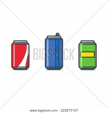 Soda cans. Set of three color soda can with labels. Flat line style vector illustration. Short and long, big aluminium bottle. Beer or other alcohol or energy drink.