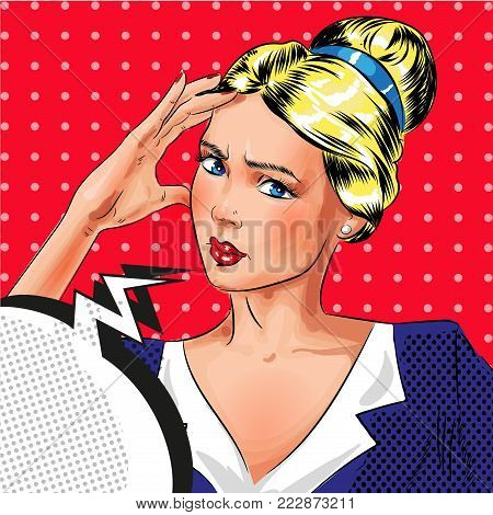 Vector illustration of beautiful girl thinking about something, thought bubble. Sad woman portrait in retro pop art comic style.