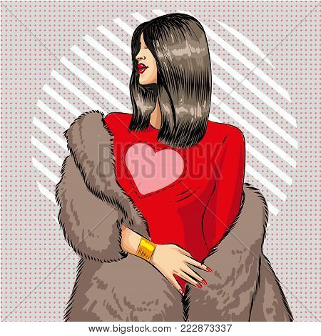 Vector illustration of beautiful young woman wearing red dress and fur coat. Sexy brunette pin-up girl in retro pop art comic style.