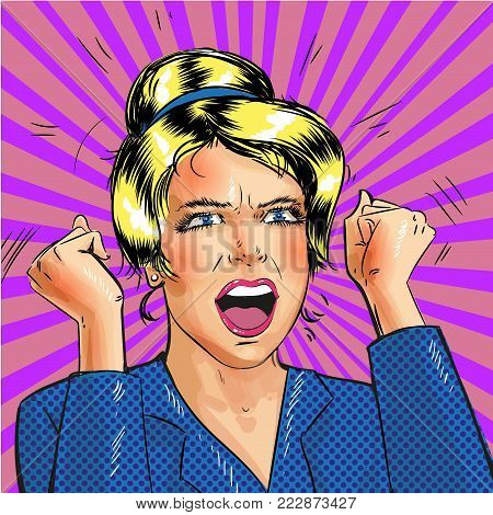 Vector illustration of excited young woman with hands up and clenched fists. Retro pop art comic style illustration.