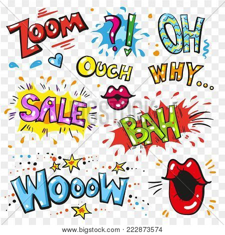 Vector vintage pop art patches set with lips, hearts and speech bubbles with fashion phrases and expressions Zoom, Oh, Why, Bah, Sale, Wooow. Comic stickers, sound effects on transparent background.